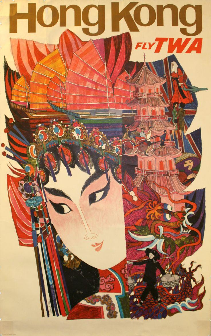 Hong Kong by TWA, 1950s - original vintage poster listed on AntikBar.co.uk