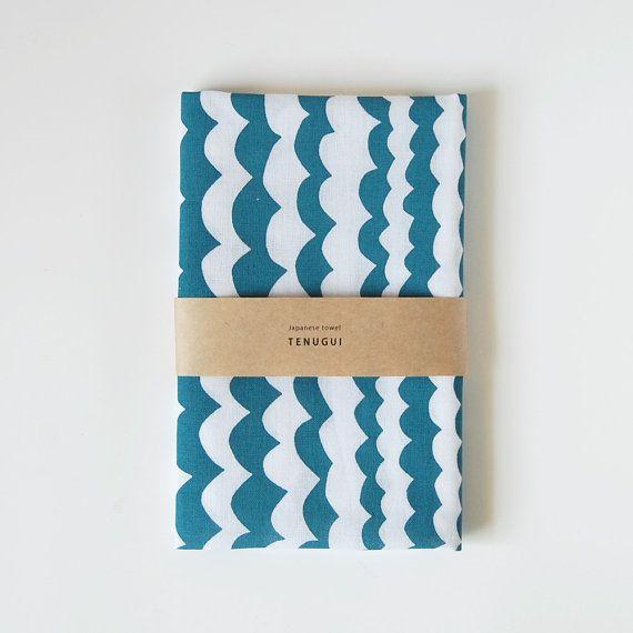Tenugui Japanese  Cotton Towel Fabric Printed 'wave'- print tenugui on Etsy, ¥1,200.00