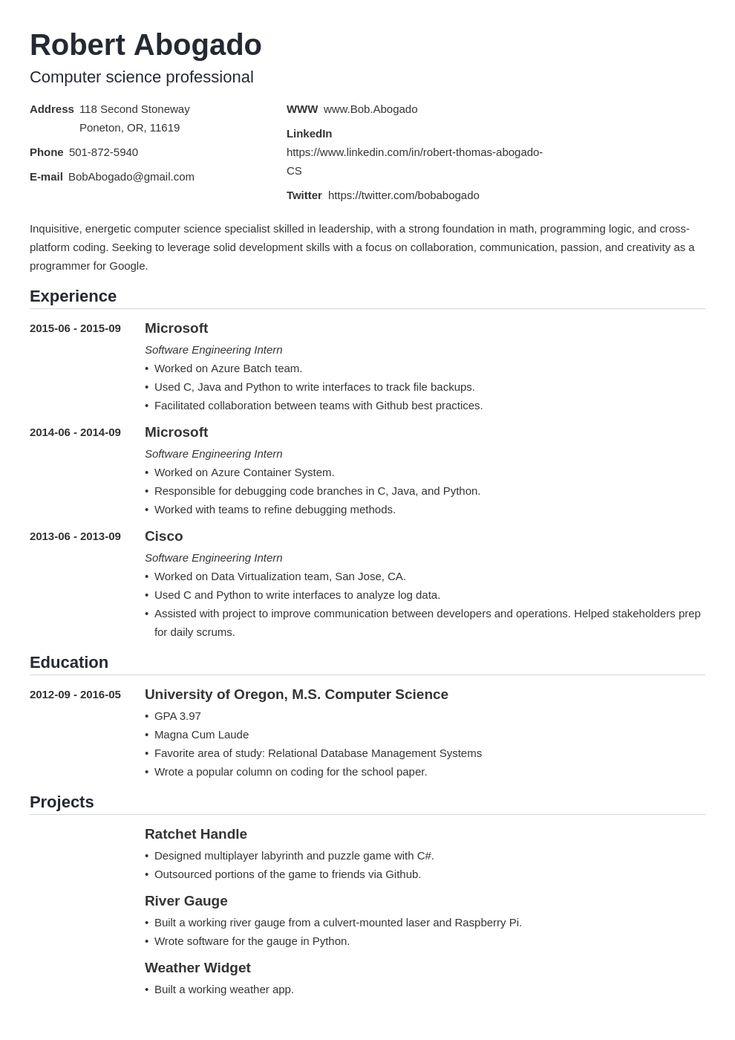 31++ Reddit resume template cs inspirations
