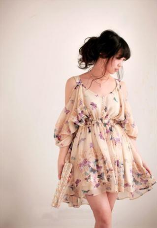Cream coloured butterflies print chiffon dress