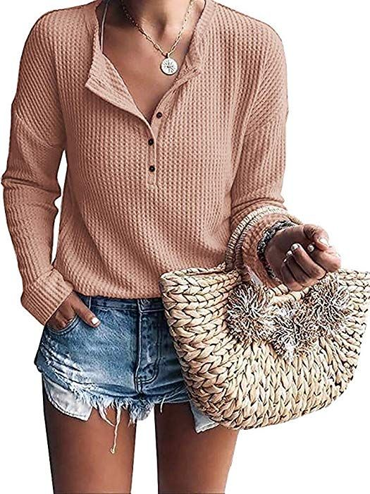 082c7a6725f Shop online for fashionable ladies' Blouses at Floryday - your favourite  high street store. Womens Henley Shirts V Neck Long Sleeve Button Down Tops  Knit ...