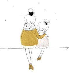 Sur un fond d Agnes Obel, aujourd'hui j ai dessiné ... La version hiver de Love Mum and girl #mylovelything #nouvelleillustration