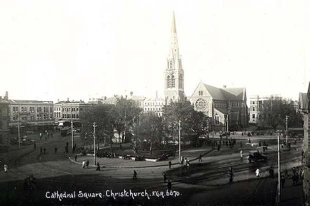 Old Postcard, Cathedral Square, Christchurch, New Zealand