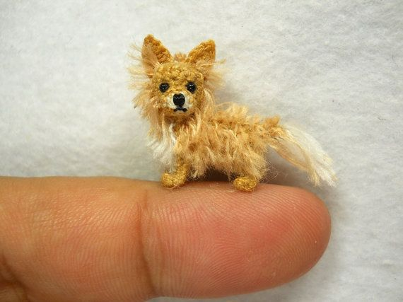 Handmade tiny crochet dog - Tan long hair Chihuahua is made of embroidery threads, micro cored plastic eyes and stuffed by polyfil.    Size: Aprox. 1.2