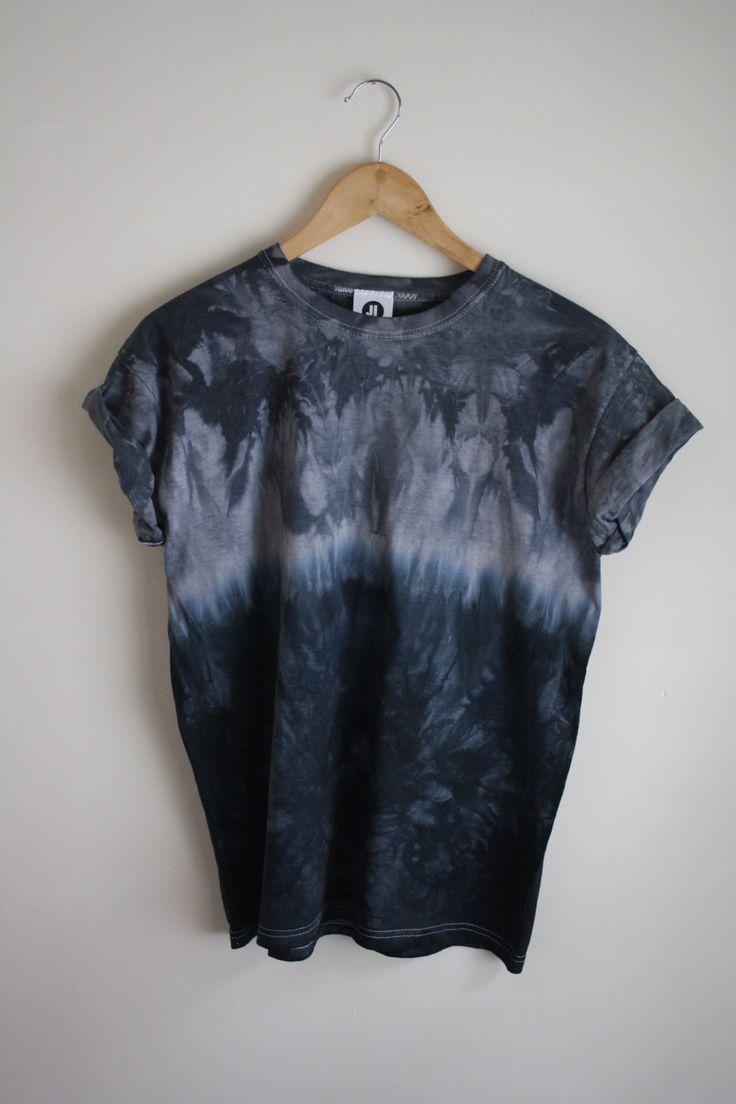 Black t shirt dye - Dip Dye Tie Dye T Shirt Unisex Grey And Black Navy By Jessirwinclothing