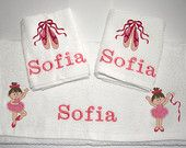 Ballet shoes and ballerina girl personalised gift set for a baby or child. made by Babys Precious Gifts
