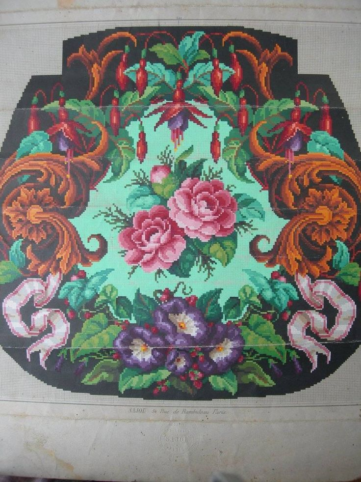 Antique French 1870s coloured Berlin woolwork paper pattern Sajou C   eBay