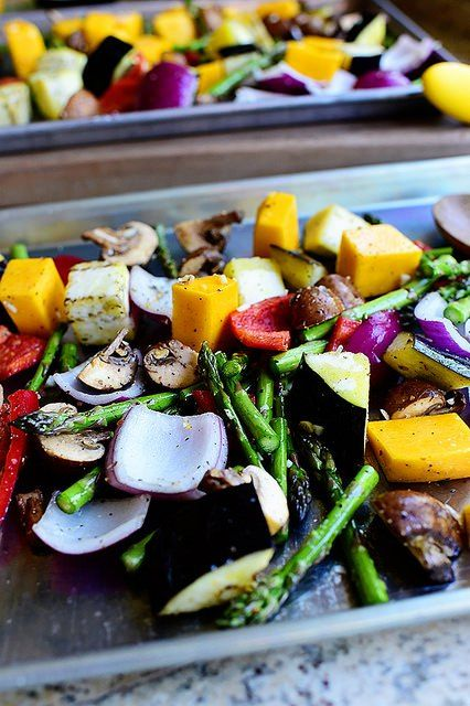 Beautiful Roasted Vegetables *toss with toasted southern skillet cornbread & bal…   – Side dishes