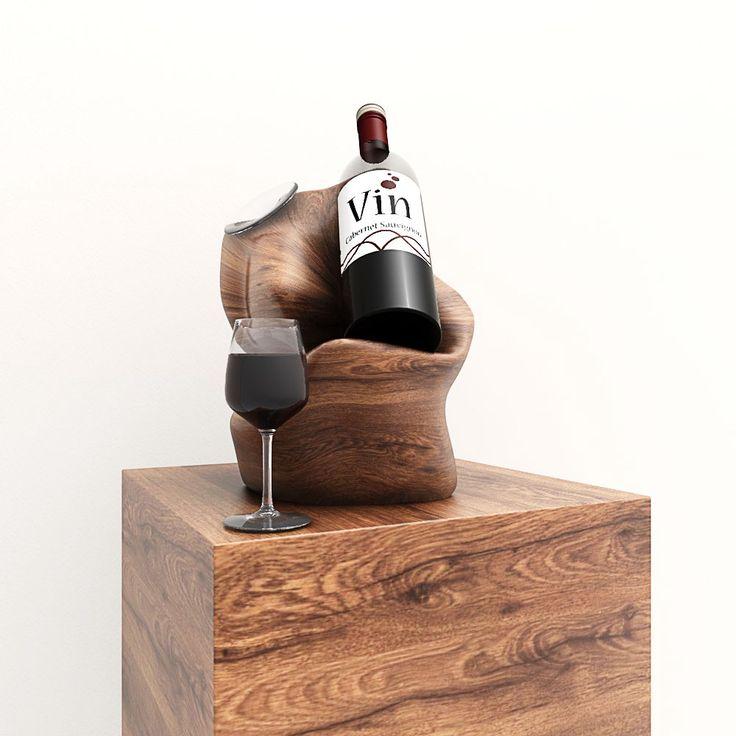 Dit concept ontwerp van een wijnflesstandaard is afkomstig van 3DL.Dit fraaie houten accessoire staat heel fraai als decoratief element in uw keuken. Het ontwerp is in 3D uitgetekend. De afbeeldin…