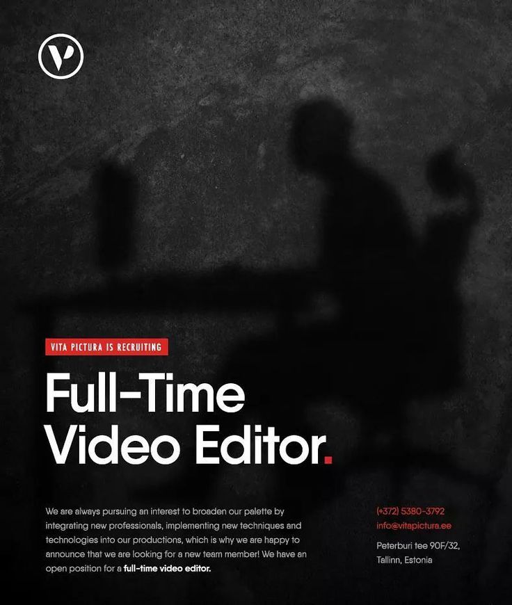 Vita Pictura Productions is looking for full-time video editor please apply if you are skilled experienced editor with knowledge of Adobe Premiere Pro Adobe After Effects.  info@vitapictura.ee