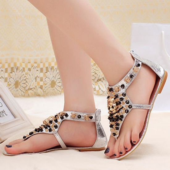 European Rhinestone Sequins Thong Low Heel Casual Summer Brilliant Flat Sandals