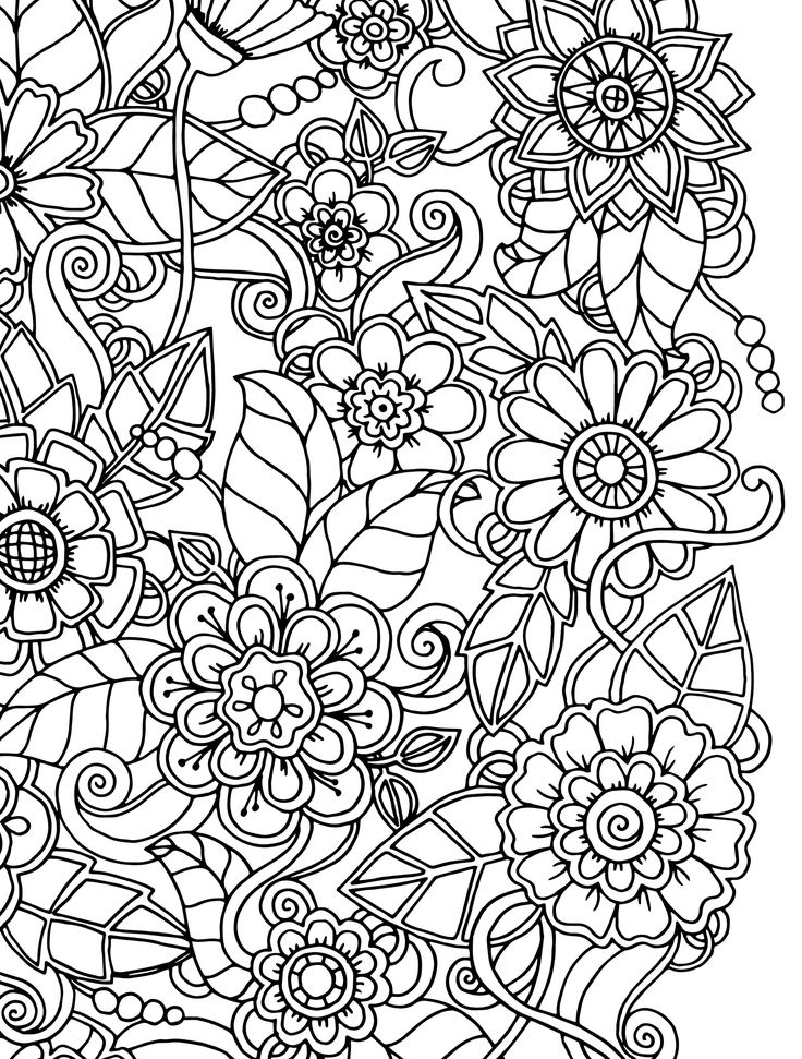 15 CRAZY Busy Coloring Pages for Adults | Flower coloring ... | free printable coloring pages for adults flowers