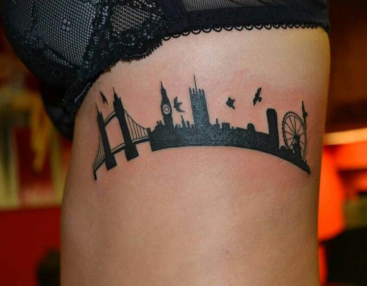 Exactly what I want! (Minus the birds) London skyline tattoo :)