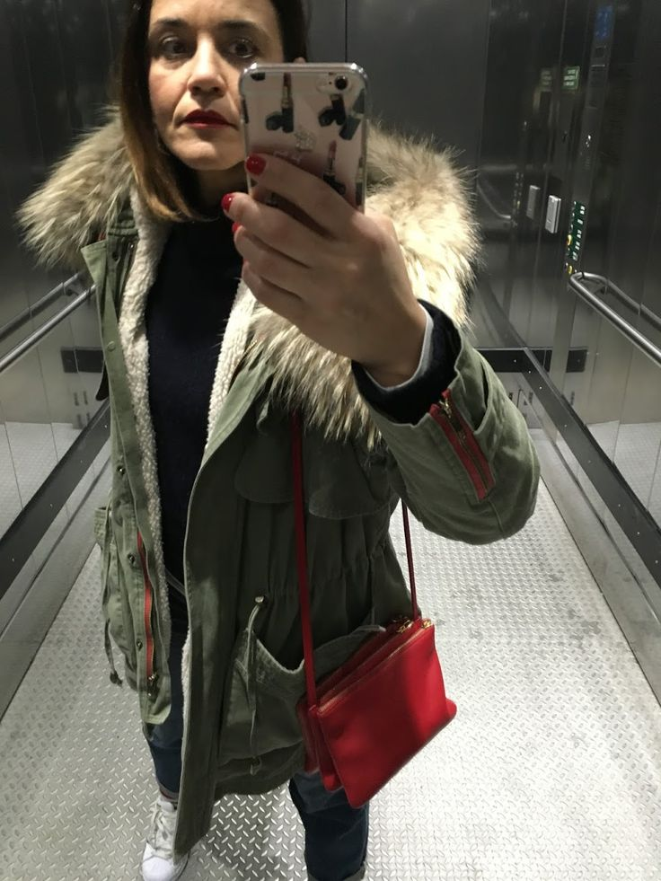 parka-red lips and nails-little bag... three of my fav!!!