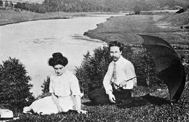 Alexander Scriabin having a sad picnic with his wife.