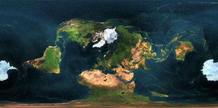 Карта Земли: проекция с не классической центральной точкой