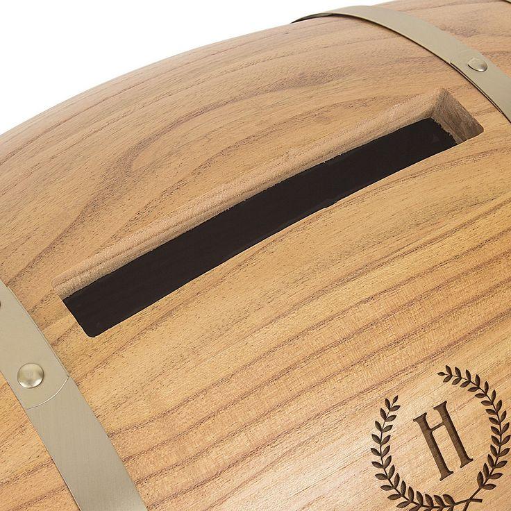 wood wedding card holders%0A Personalized Wood Wine Barrel Wedding Gift Cards Holder