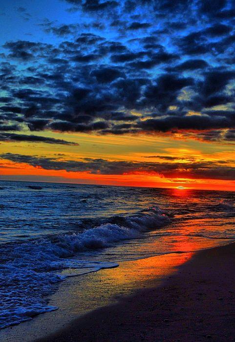 Sunset over the Emerald Isle, North Carolina - I love blue & orange together!