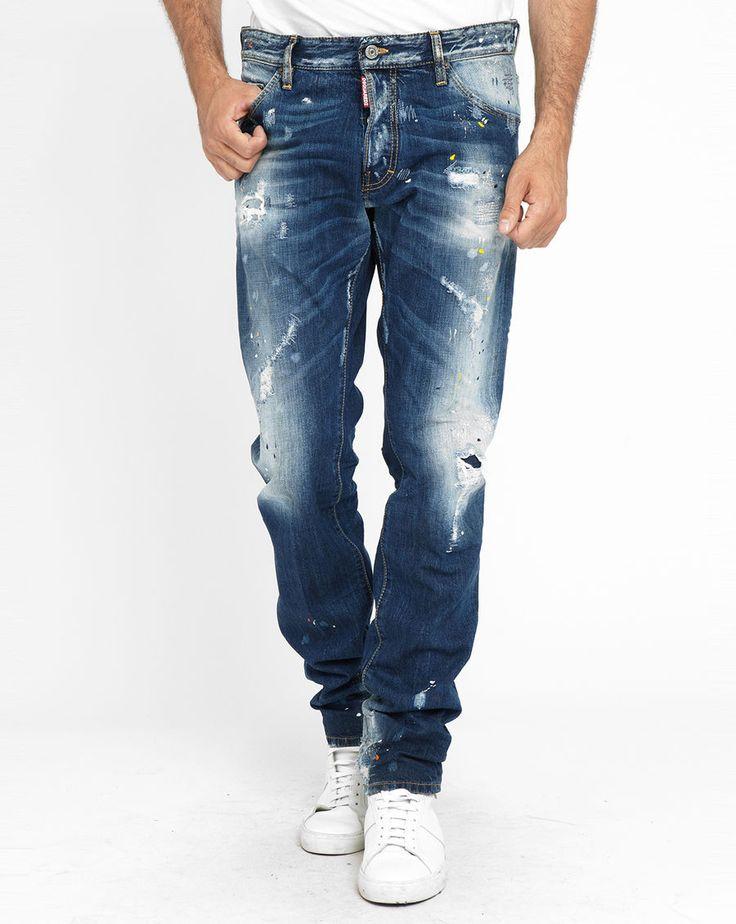 Jean Cool Guy Destroy Rapiecé Paint Stone Washed DSQUARED prix promo Jeans homme MenLook 415,00 €