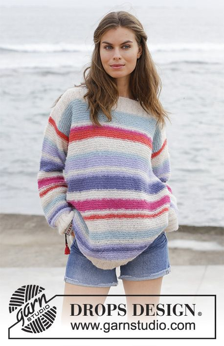 Sunset at Sea  - Knitted jumper with garter stitch and stripes. Sizes S - XXXL. The piece is worked in DROPS Brushed Alpaca Silk. Free knitted pattern DROPS 187-31