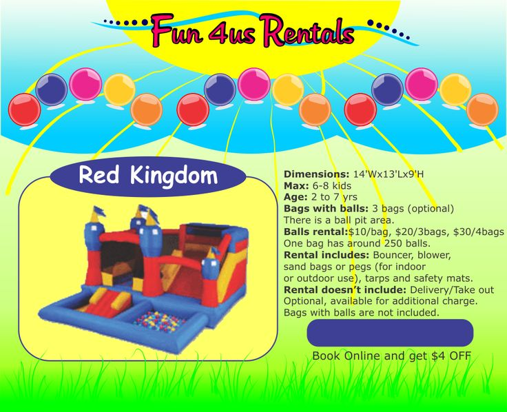 $95 for 24 hours RED KINGDOM kids inflatable rental Fun 4us Rentals