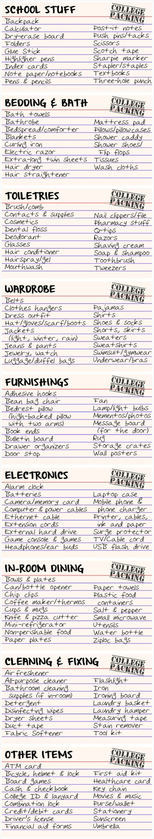 ◖ pin: mlpstephanie ◗ College packing list