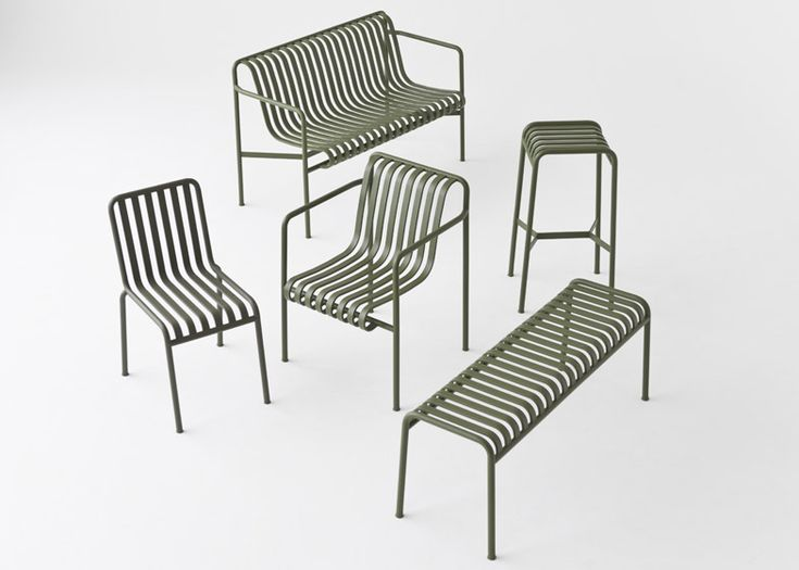 Bouroullecs design Palissade striped outdoor furniture for Hay