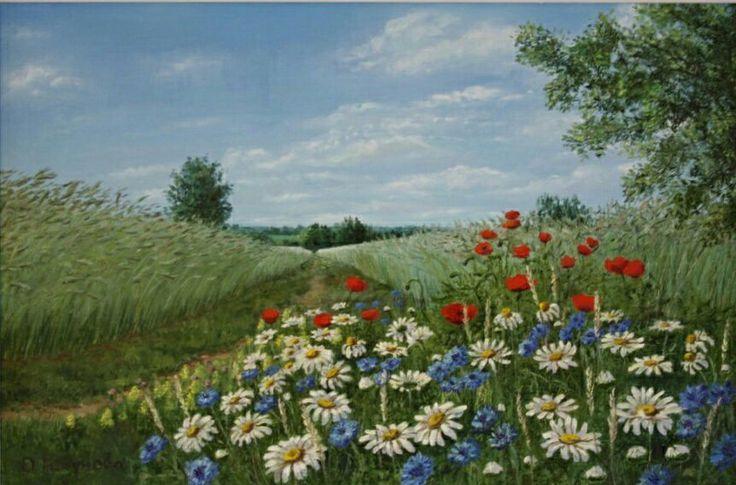 """Купить Картина маслом""""Полевые цветы"""",пейзаж - пейзаж маслом, картина для интерьера, картина маслом"""