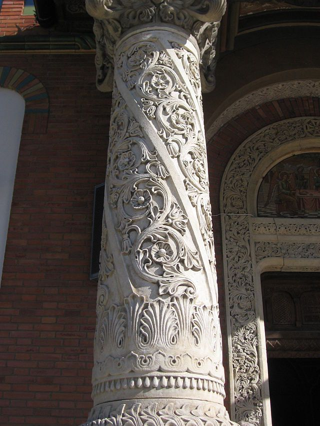 Details of the pillars at the entrance of the Great Church of the Sinaia Monastery