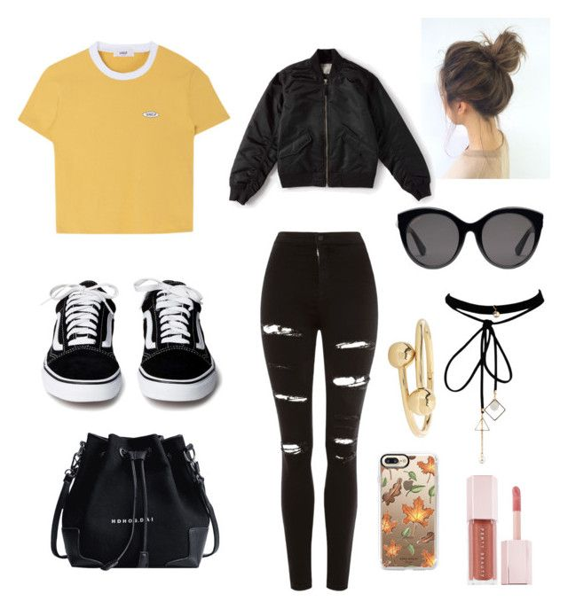 """""""Fall Hipster Outfit"""" by marirodas on Polyvore featuring Topshop, Casetify, WithChic, Gucci, Everlane, J.W. Anderson and Puma"""