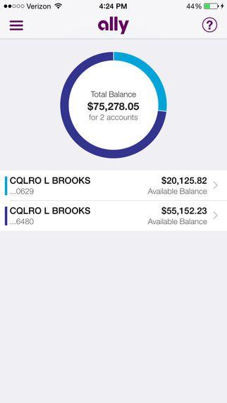Ally Mobile Banking|Saving Account |iPhone Screenshot