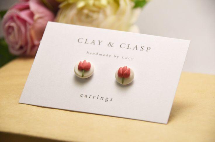 Tulip Earrings - beautiful handmade polymer clay jewellery by Clay & Clasp. $20.00, via Etsy.