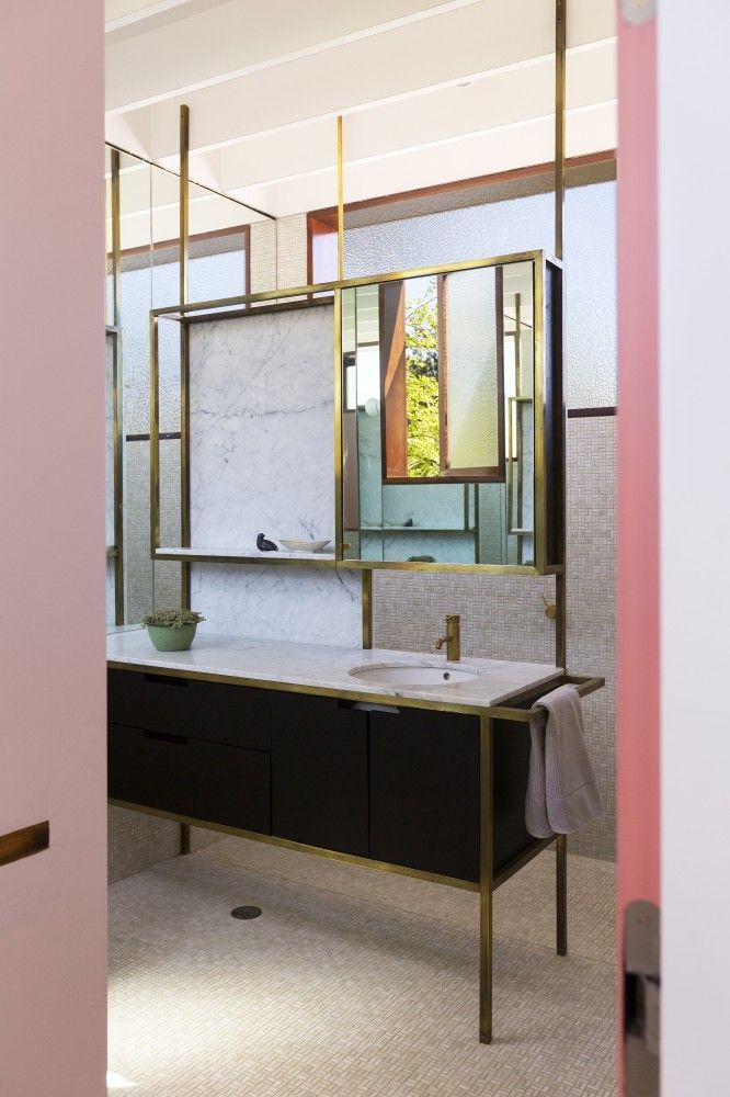 courtyard house aileen sage architects metal trim bathroom vanity rh co pinterest com