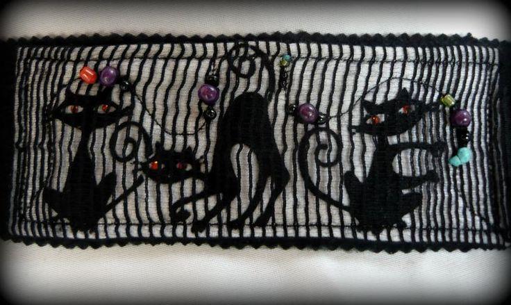 Handmade by Judy Majoros - Cats Fabric beaded bracelet -cuff, Recycled bracelet