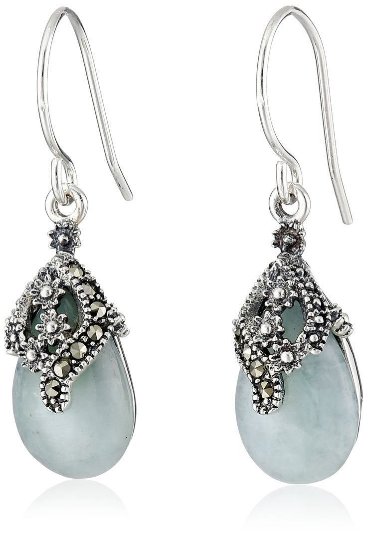 Sterling Silver Marcasite Green Jade Teardrop Floral Wire Dangle Earrings: