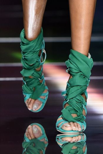 Green woven sandals at Balmain spring '16.