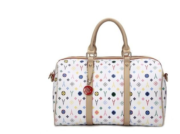 Vogue Pattern Tower Print White Handbag