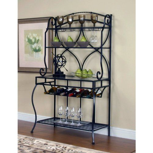 Cramco Starling Bakers Rack by Cramco. $179.99. Made from metal. Wine bakers rack. Wine rack can store six bottles. Four shelves. Textured black finish. The metal bakers rack features an old world style achieved through a mixing of modern materials and clean lines. A hanging wine rack, base shelf, and wineglass rack highlight the piece. An ideal addition to any kitchen or dining area.