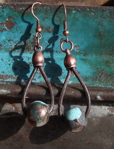 raku copper earring on leather