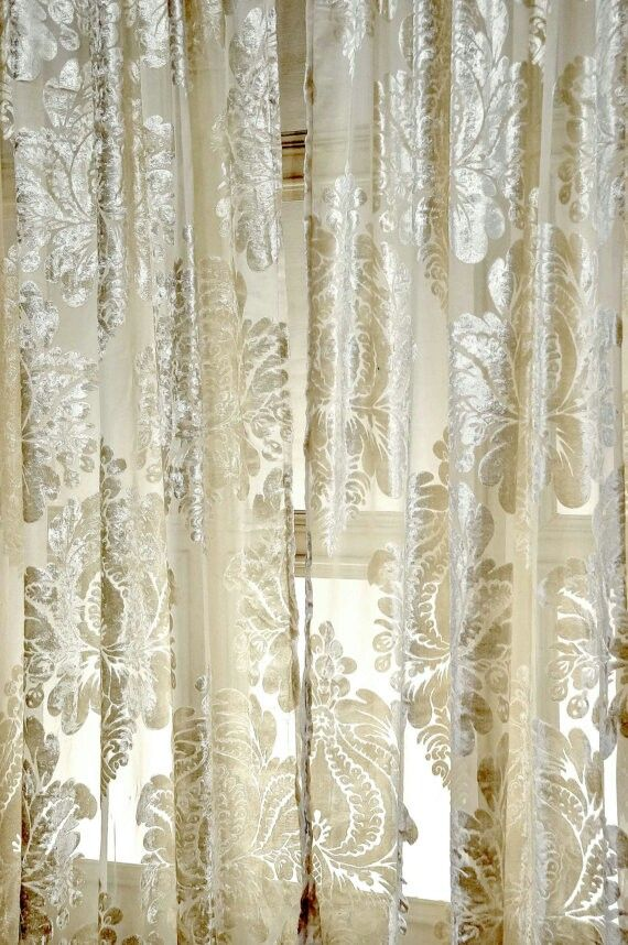 Sheer Cream And Metalic Demask Print Voile Curtains Would Look Great In My Living Room