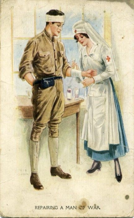 World War I-era postcard showing a Red Cross Nurse bandaging a soldier. No. 1368 (C) Illustrated Postal Card & Nov. Co., NY