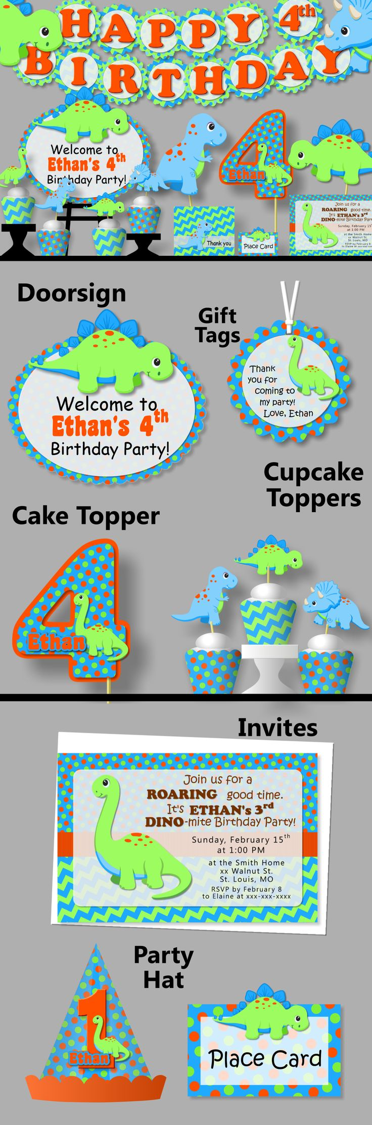 Dinosaur Party Decorations, Dinosaur Birthday Invitation - Party Supplies, Party Favor, Banner, Cake Topper, Cupcake, blue, green orange #bcpaperdesigns