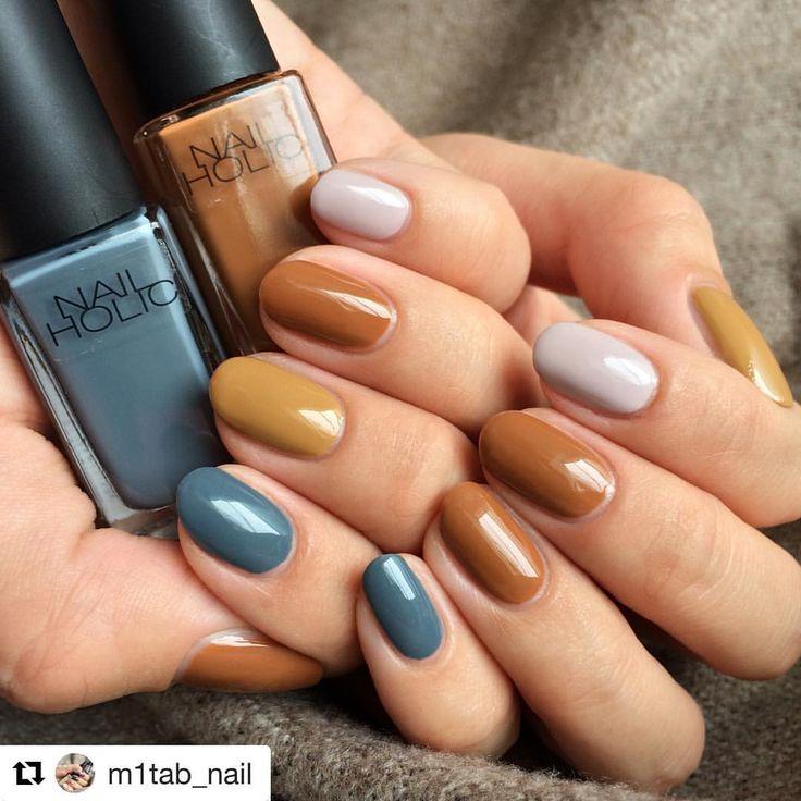 いいね!56件、コメント1件 ― @how2nail_のInstagramアカウント: 「NAIL HOLICのベタ塗りネイルです 素敵な秋カラーです how2nail_では真似したくなるようなネイルをご紹介します✨ #how2nail_ #Repost m1tab_nail…」