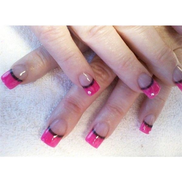 Hot Pink Black Line Nail Art Gallery Liked On Polyvore Featuring Nails Hot Pink Black Line Nail Art Galler In 2020 Pink Black Nails Line Nail Art Lines On Nails