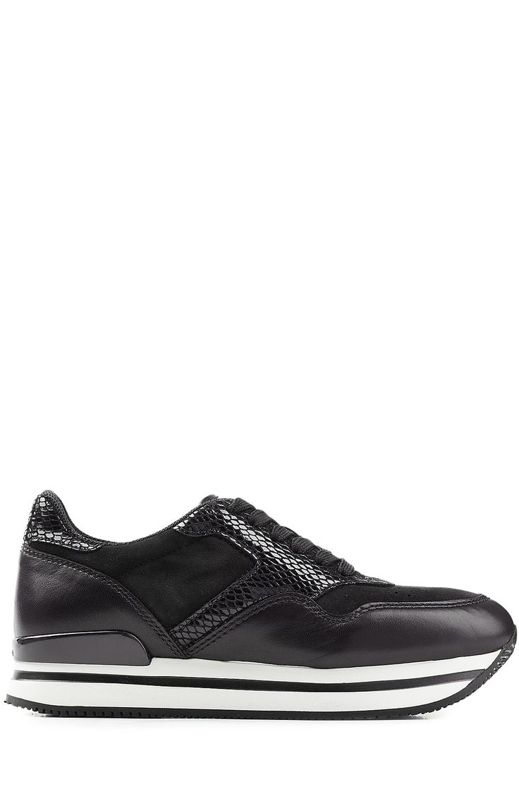 HOGAN Suede And Embossed Leather Platform Sneakers. #hogan #shoes #sneakers