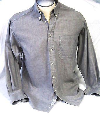 Christian-Dior-Mens-Dress-Shirt-Button-Down-Long-Sleeve-Size-15-32-33-Grey