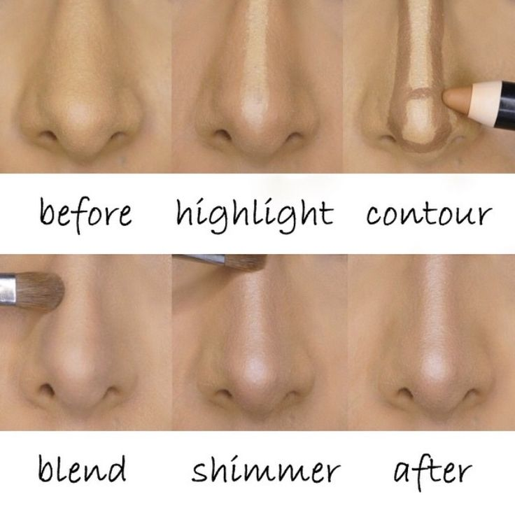 The trick is to draw a thin highlight line down the center of the nose and sandwich that line with two dark lines on both sides to create a narrow width. After lightly bending, set with powder and add a thin strip of shimmer down the center of the nose to highlight the new sharpened bridge!  (Used the Smashbox Contour Stick Trio set for drawing the lines and Becca Cosmetics Opal shimmer to highlight at the end.)