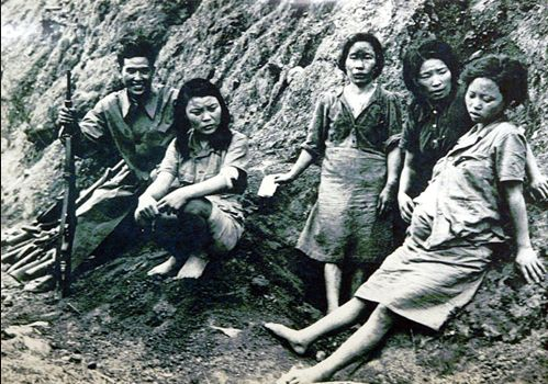 """Korean women were forced to become """"comfort women"""" to Japanese troops. She was gang raped repeatedly. Then she became pregnant. But that would not stop the soldiers. They sat on her stomach to force the fetus out, and crushed it to pieces with their boots. Immediately after, they continued to take turns to rape her. The comfort women were forced to have sex with the Japanese troops."""