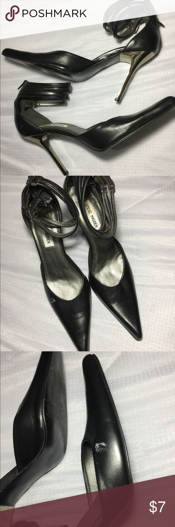 Steve Madden SilverStiletto PointedToe Black Heels Size:9. Has 4 Straps. Pointed toe. Flaw: small white mark on one of the shoes *see photos*. Good condition, otherwise. Steve Madden Shoes Heels