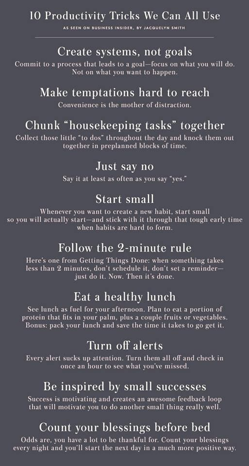 10 Productivity Tricks We Can All Use As excerpted from Inc.com by Jeff Haden.